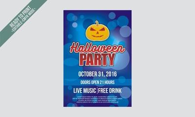 blue bokeh halloween flyer poster party vector
