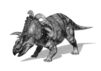 Albertaceratops Dinosaur in Pencil Drawing Style 2