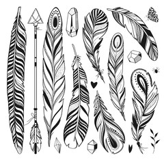 boho set with feathers, arrow and minerals