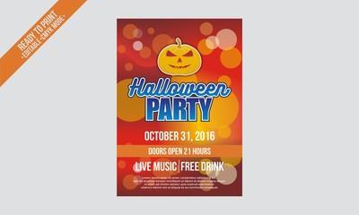 halloween party flyer poster red bokeh vector