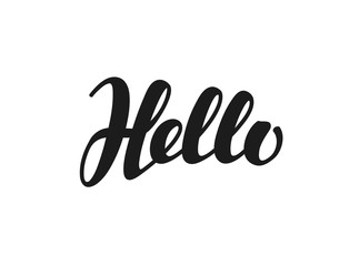 Hello inscription calligraphy. Hand drawn lettering. Vector illustration