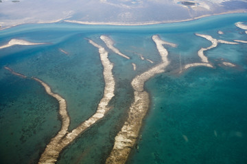 an aerial view of the florida keys blue green water