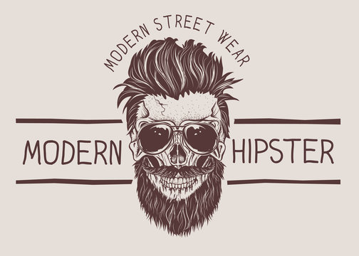 Hipster skull with hairstyle, mustache and beard