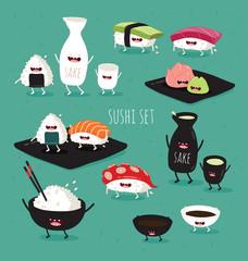 Funny sushi set. Bottle of sake, sushi, rice, soy sauce. Vector illustration.