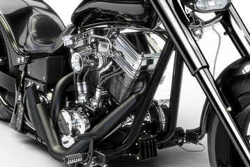 Custom black motorcycle on a white background. 3d rendering