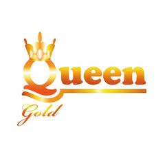 Logo Gold Queen isolated on a white background.