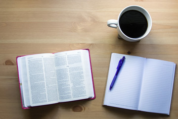 bible study with notebook and coffee