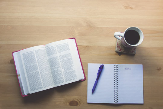 bible study with coffee and notebook