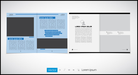 Newspaper template with infographic elements, vector