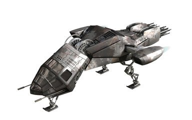 3D rendering of military drone or alien spacecraft for science fiction backgrounds, fantasy war games, futuristic battles or space travel, with the clipping path included in the file.