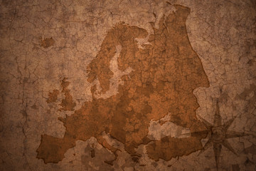 european map on a old vintage crack paper background