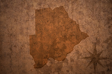 botswana map on a old vintage crack paper background