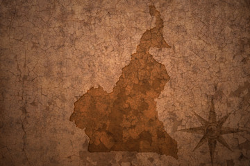 cameroon map on a old vintage crack paper background