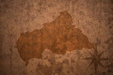 central african republic map on a old vintage crack paper background
