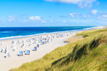 Fototapete - View of beautiful beach and sand dune in Kampen village, Sylt island, Germany