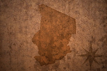 chad map on a old vintage crack paper background