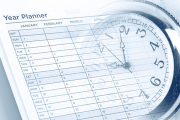 Time management. Watch on year planner