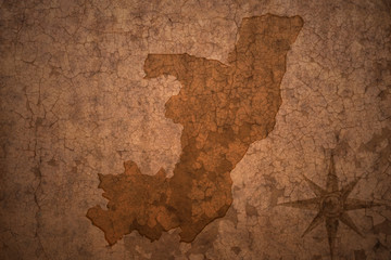 republic of the congo map on a old vintage crack paper background
