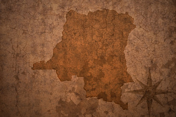democratic republic of the congo map on a old vintage crack paper background
