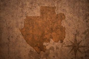 gabon map on a old vintage crack paper background