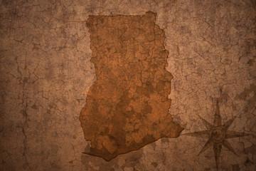 ghana map on a old vintage crack paper background