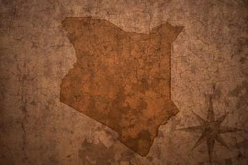 kenya map on a old vintage crack paper background