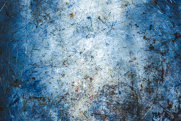 Metal blue grunge old rusty scratched surface texture.