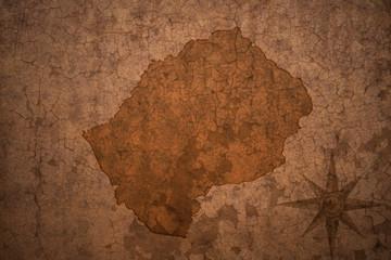 lesotho map on a old vintage crack paper background