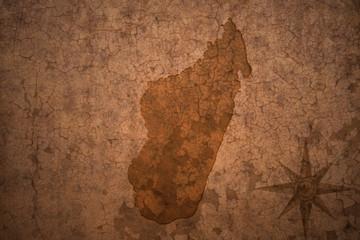 madagascar map on a old vintage crack paper background