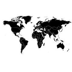 Векторная карта мира. Черная иллюстрация на белом фоне.