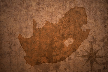 south africa map on a old vintage crack paper background
