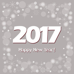 New year`s banner  2017 on grey