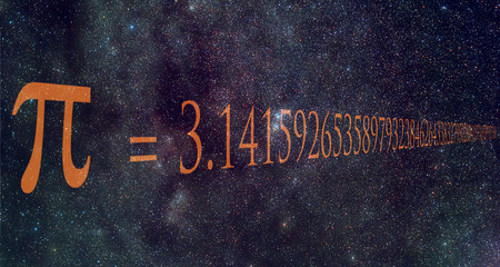 Pi number Milky Way background