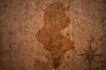 tunisia map on a old vintage crack paper background