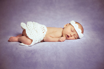 Lovely Newborn Girl Is Sleeping