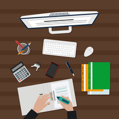 Man working with Documents vector