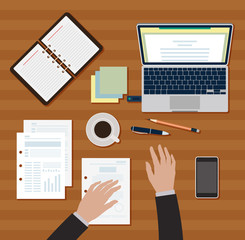 Workplace table vector image