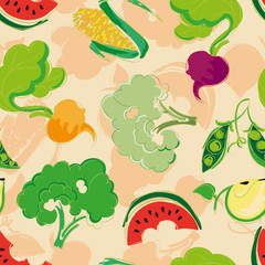 Seamless pattern of stylized fruit and vegetables: corn, Brussel