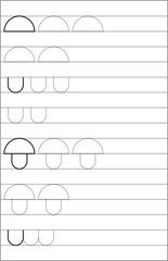 Page with exercises for young children in line. Developing skills for writing and drawing. Vector image.