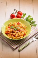 pasta with fresh salmon  tomatoes and mint