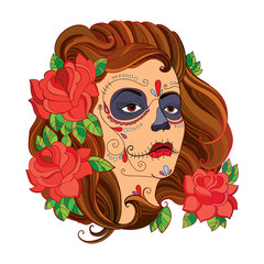 Vector illustration of girl face with Sugar skull or Calavera Catrina makeup and red roses isolated on white. Design for Mexican Day of the dead or Dia de los Muertos in contour style.