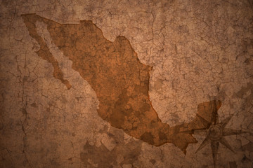 mexico map on a old vintage crack paper background