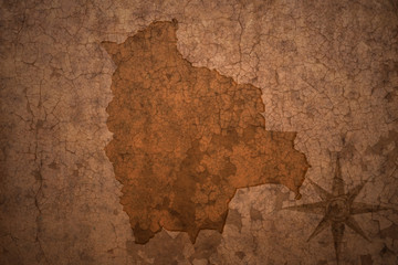 bolivia map on a old vintage crack paper background