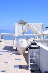 romantic patio with sea view, Greece.