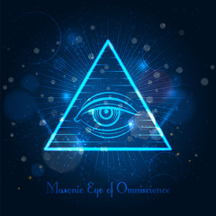 Masonic eye of Omniscience on blue shining background. Vector illustration