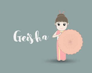 Traditional Geisha with Umbrella