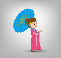 Indian Lady in Saree with Chinese Umbrella