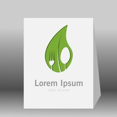 Vegetarian food symbol. Leaf shape with knife and fork in negative space. Creative logo design concept for healthy products. 3d