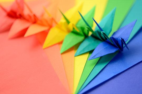 7色の折り鶴