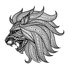 Zentangle style head of Lion illustration in doodle style. Vecto